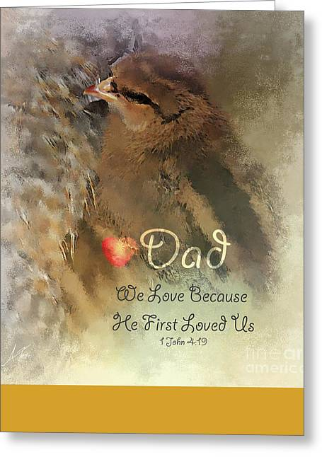 First Love Greeting Cards - We Are Family - Dad Greeting Card by Anita Faye
