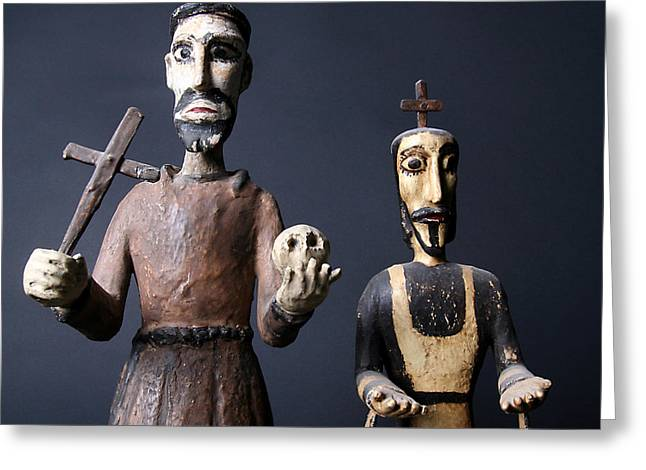 Wood Carving Greeting Cards - We are from the Church and we are here to help  Greeting Card by Joe Kozlowski