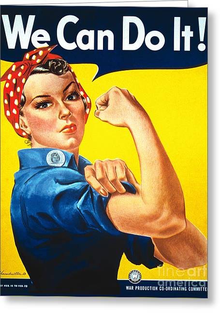 Empower Greeting Cards - We Can Do It Rosie the Riveter Poster Greeting Card by Carsten Reisinger