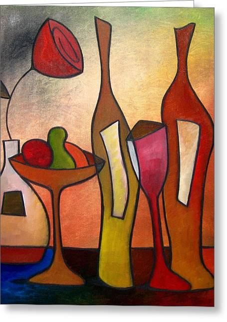 Cocktails Greeting Cards - We Can Share - Abstract Wine Art by Fidostudio Greeting Card by Tom Fedro - Fidostudio