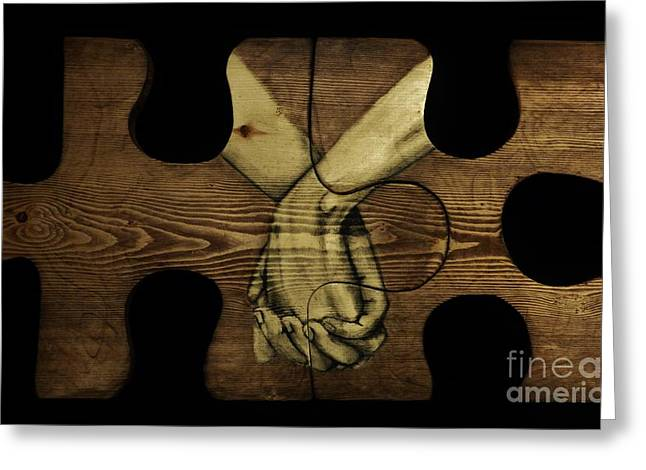 Wood Carving Pastels Greeting Cards - We Fit Together Greeting Card by John Sekela