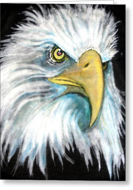 Eagle Tapestries - Textiles Greeting Cards - We mean it Greeting Card by Barbara Kelley