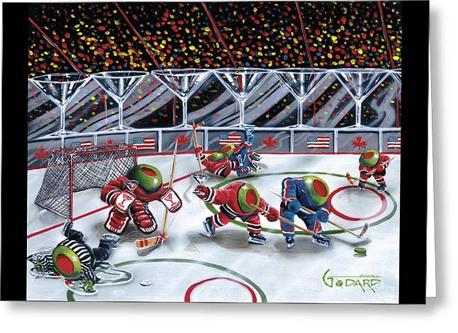 Hockey Paintings Greeting Cards - We Olive Hockey Greeting Card by Michael Godard