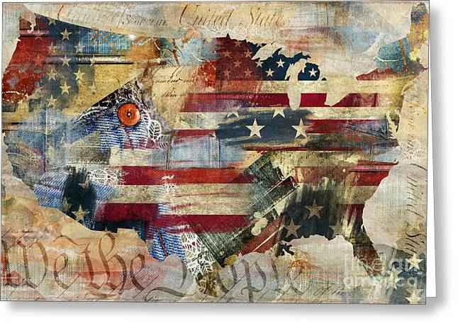 Flag Of Usa Greeting Cards - We The People Map America Greeting Card by Mindy Sommers