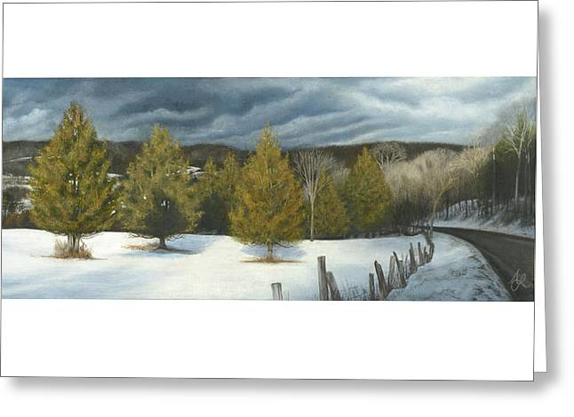Winter Roads Pastels Greeting Cards - We Three Kings Greeting Card by Anne Leeds