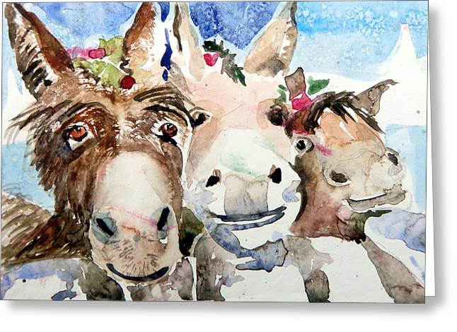 Joke Drawings Greeting Cards - We Three Wise Asses Greeting Card by Mindy Newman
