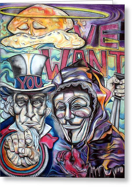 Occupy Pastels Greeting Cards - We Want you Greeting Card by Danielle Finger