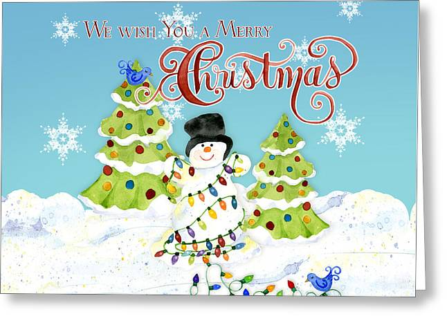 We Wish You A Merry Christmas - Snowman All Tangled Up In Lights Greeting Card by Audrey Jeanne Roberts