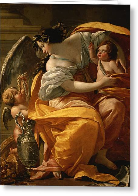 Kids Books Paintings Greeting Cards - Wealth Greeting Card by Simon Vouet