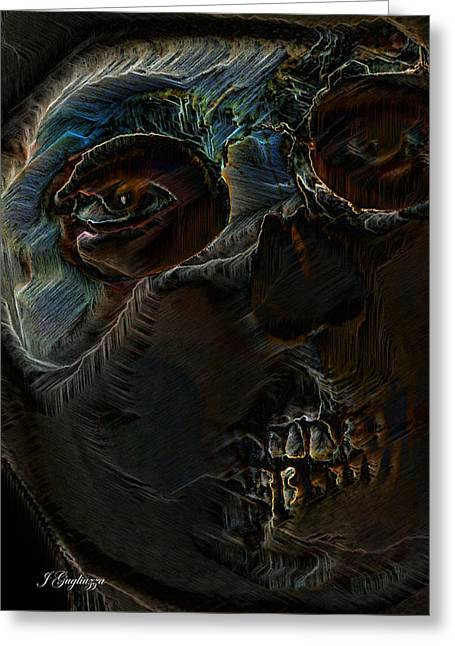 Macabe Greeting Cards - Wearing Death Greeting Card by Jean Gugliuzza