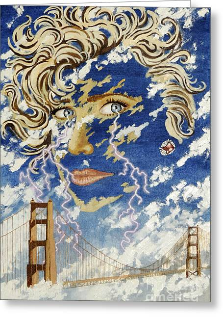 Golden Gate Drawings Greeting Cards - Weather Girl Greeting Card by Stephen Brooks
