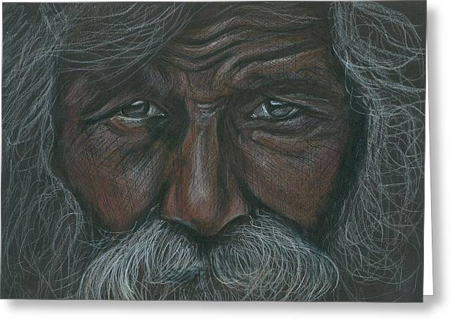 Aborigine Greeting Cards - Weathered Aborigine Greeting Card by Linda Nielsen