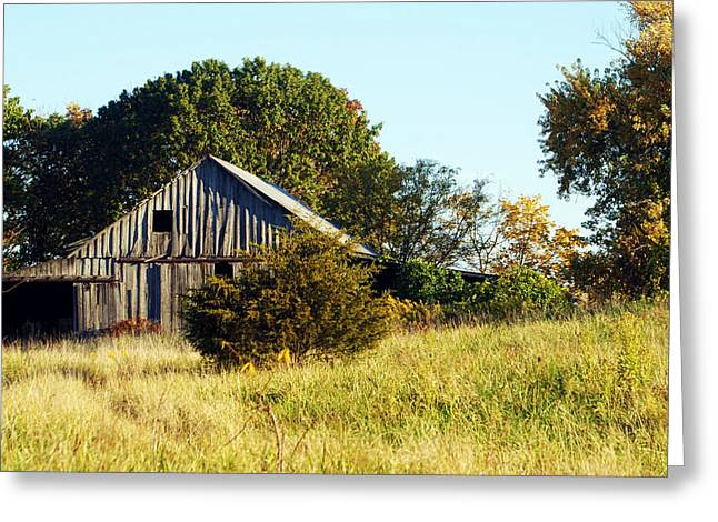 Boone County Greeting Cards - Weathered Barn in Fall Greeting Card by Cricket Hackmann