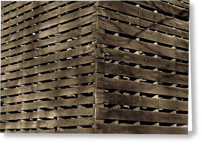 Black Berries Greeting Cards - Weathered Corn Crib Greeting Card by Chris Berry