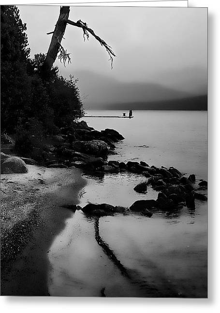 Foggy Beach Greeting Cards - Weathered Greeting Card by David Patterson