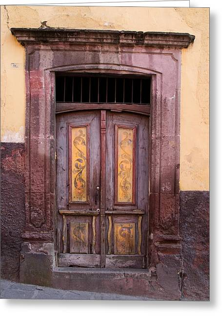 Rectangles Greeting Cards - Weathered Door Greeting Card by Carol Leigh