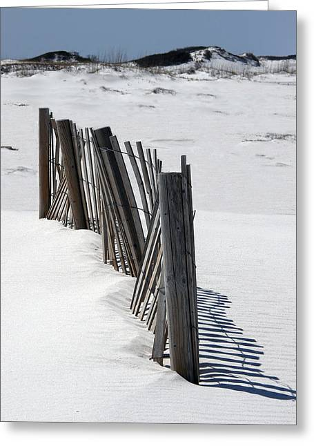 Sand Fences Mixed Media Greeting Cards - Weathered Fence on Destin Sand Dunes  Greeting Card by Deb JAZI Raulerson