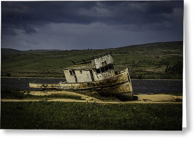 Weathered Fishing Boat Greeting Card by Garry Gay