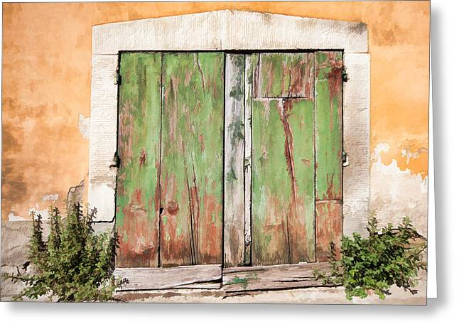 Medieval Entrance Greeting Cards - Weathered Green Door of Tuscany Greeting Card by David Letts