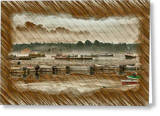 Docked Boats Greeting Cards - Weathered Nautical Decoupage Greeting Card by John Bailey
