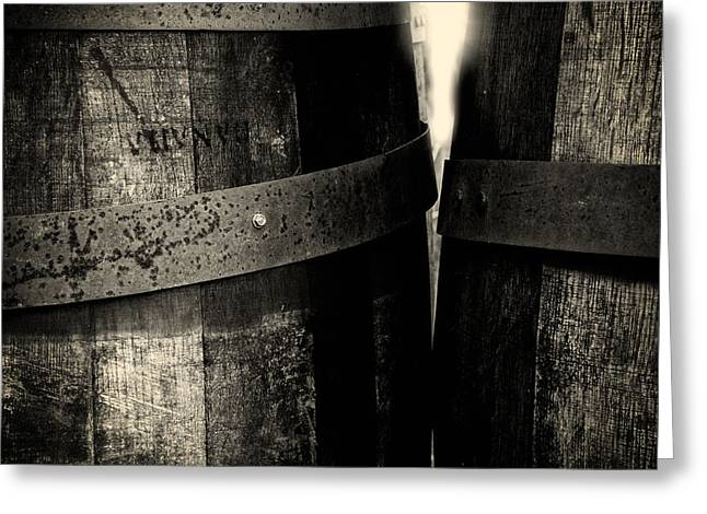 Weathered Old Apple Barrels Greeting Card by Bob Orsillo