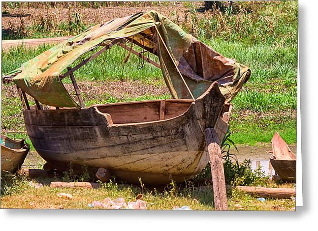 Tonle Greeting Cards - Weathered Old Boat Greeting Card by Georgia Fowler
