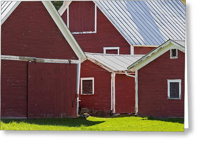 Old Barns Greeting Cards - Weathered Red Barns Greeting Card by Alan L Graham