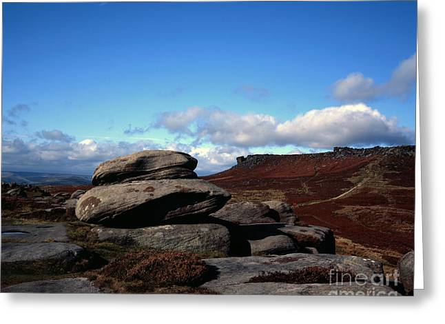 Wark Photographs Greeting Cards - Weathered rock formation The Karl Wark  and Higger Tor Hathersage Moor Grindleford Derbyshire Greeting Card by Michael Walters
