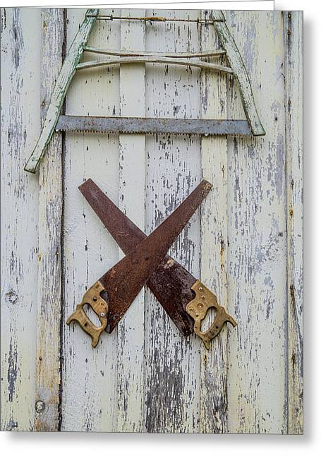 Saw Greeting Cards - Weathered Saws Greeting Card by Craig Morrison