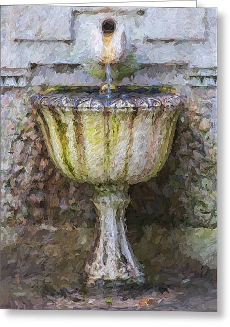 Old House Photographs Paintings Greeting Cards - Weathered Stone Fountain Of Portugal Greeting Card by David Letts