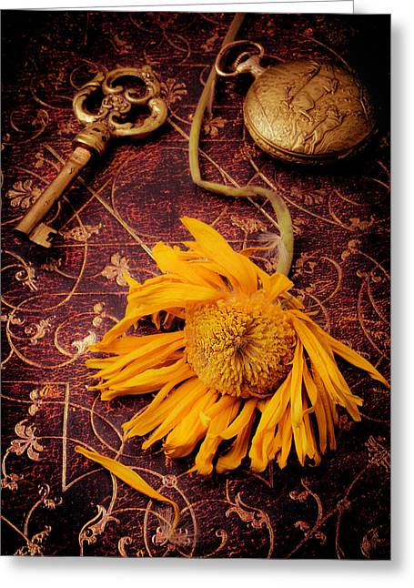 Weathered Sunflower With Gold Key Greeting Card by Garry Gay