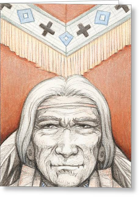 Tribute Drawings Greeting Cards - Weathered Wisdom Greeting Card by Amy S Turner