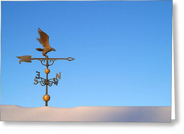 Weathervane Photographs Greeting Cards - Weathervane on Snow Greeting Card by Robert  Suits Jr