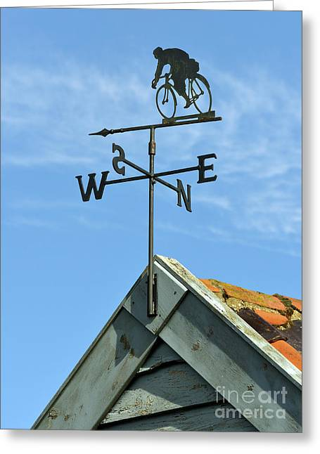 Weathervane Greeting Cards - Weathervane with cyclist. Greeting Card by Stan Pritchard
