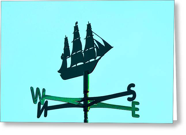 Weathervane Greeting Cards - Weathervane with sailing ship. Greeting Card by Stan Pritchard