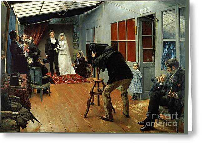 Wedding At The Photographer's Greeting Card by Pascal Adolphe Jean Dagnan-Bouveret