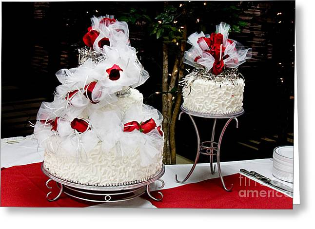 Frosting Greeting Cards - Wedding Cake And Red Roses Greeting Card by Andee Design