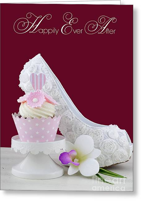 Tabletop Greeting Cards - Wedding Day concept with Happily Ever After Text.  Greeting Card by Milleflore Images