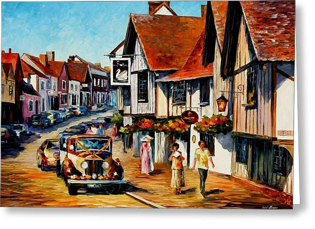 Popular Art Greeting Cards - Wedding Day In Lavenham-Suffolk-England - PALETTE KNIFE Oil Painting On Canvas By Leonid Afremov Greeting Card by Leonid Afremov