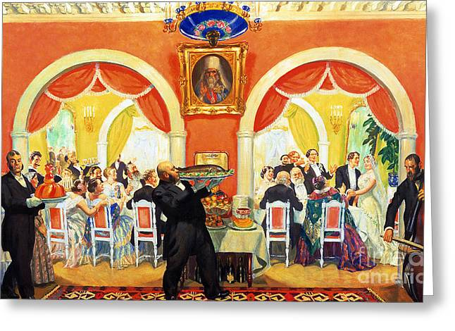 Wedding Feast, 1917 Greeting Card by Boris Mikhailovich Kustodiev