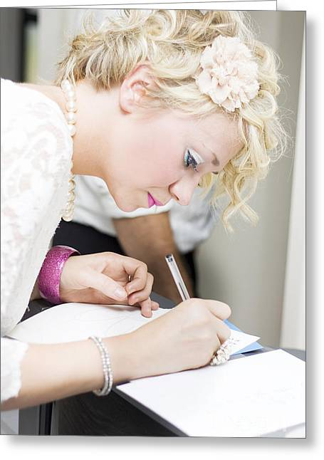Wedding Guest Signing Wedding Guestbook Greeting Card by Jorgo Photography - Wall Art Gallery