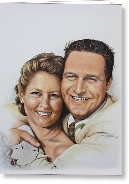 Figure Drawing Greeting Cards - Wedding Portrait Jeremy n Katie Greeting Card by Joan Garcia