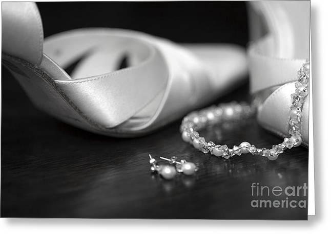 Footwear Love Greeting Cards - Wedding shoes and jewellery Greeting Card by Deborah Benbrook