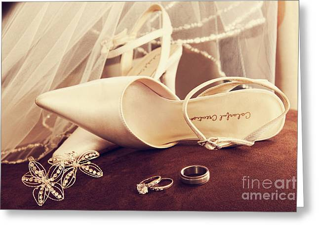Announcement Greeting Cards - Wedding shoes with veil and rings on velvet chair Greeting Card by Sandra Cunningham