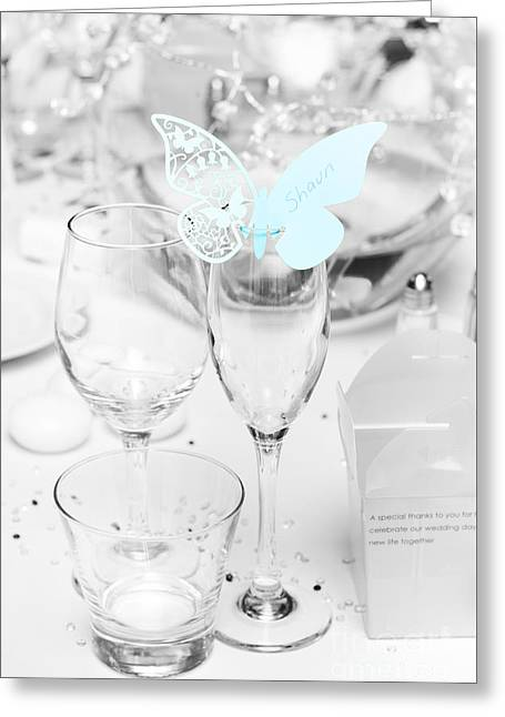 Wedding Table Decoration At Reception Greeting Card by Jorgo Photography - Wall Art Gallery