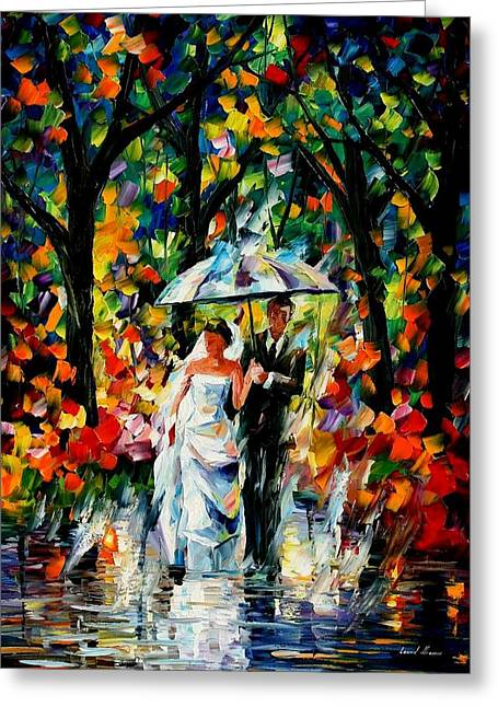 Lanscape Paintings Greeting Cards - Wedding Under The Rain  Greeting Card by Leonid Afremov