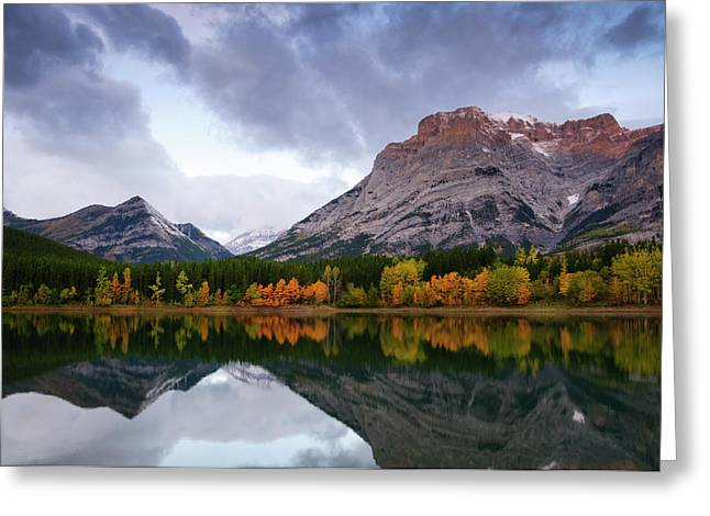 Alberta Water Falls Greeting Cards - Wedge Pond in fall Greeting Card by Ginevre Smith