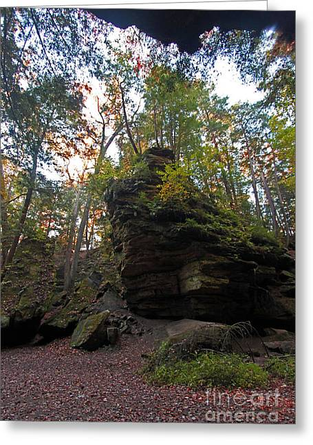Turkey Run State Park Greeting Cards - Wedge Rock at Turkey Run Greeting Card by Steve  Gass