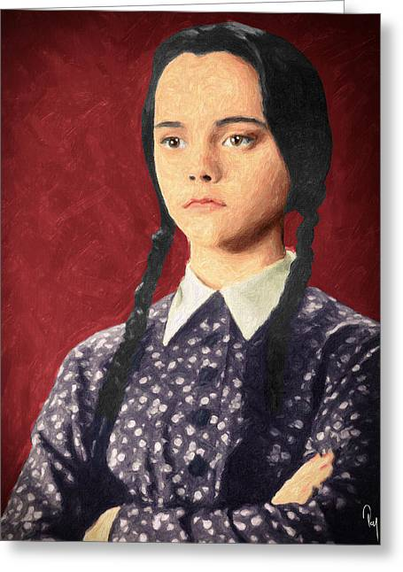 Character Portraits Paintings Greeting Cards - Wednesday Addams Greeting Card by Taylan Soyturk