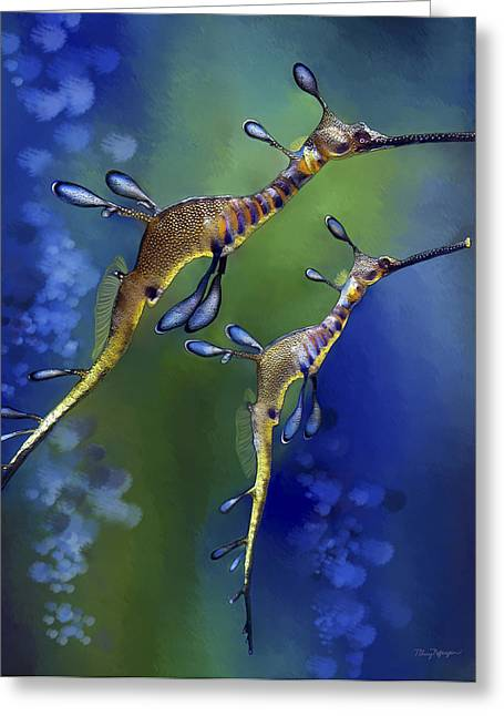 Sea Dragon Greeting Cards - Weedy Sea Dragon Greeting Card by Thanh Thuy Nguyen